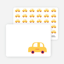 Personal Stationery for Twin Fold: Car Twins Baby Announcement - Banana Yellow