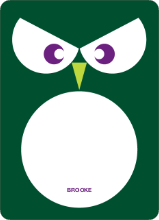 Owl Face: Personal Stationery - Forest Green