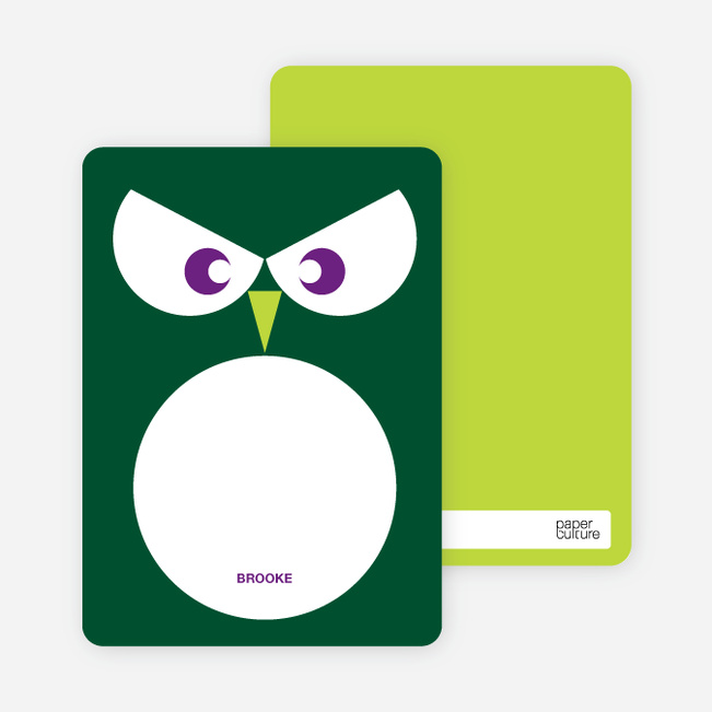Personal Stationery for Wise Owl Modern Birthday Invitation - Forest Green
