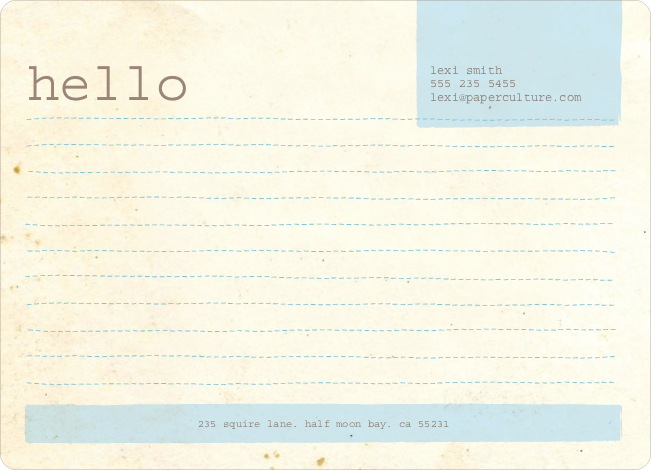 Rustic Paper Stationery - Sky Blue