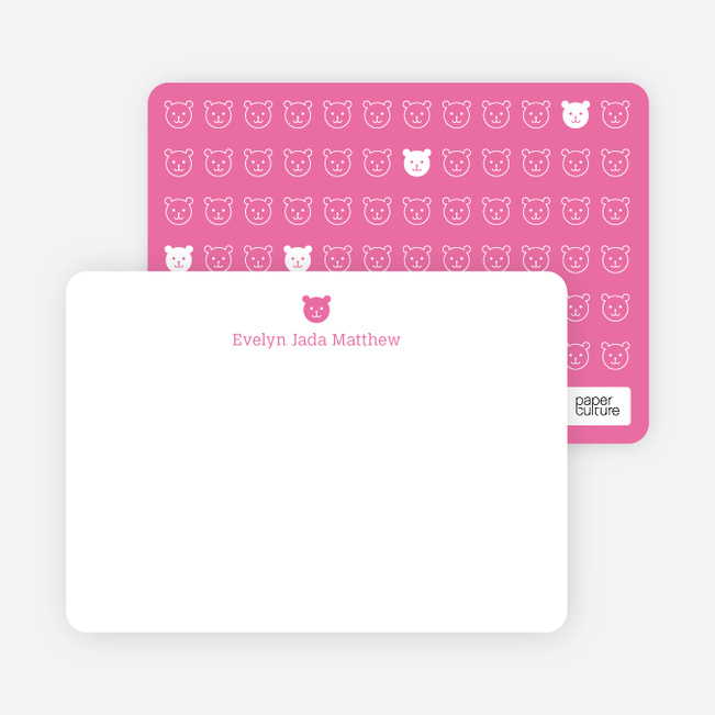 Stationery: '1 Little Bear' cards. - Shocking Pink