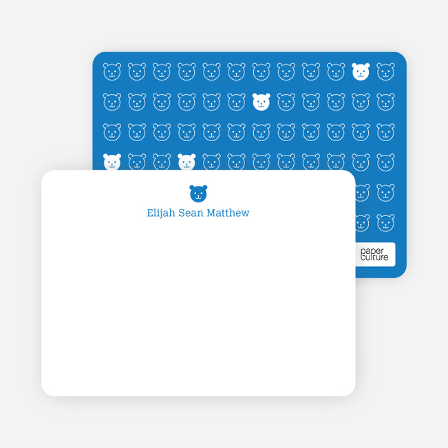 Stationery: '1 Little Bear' cards. - Royal Blue