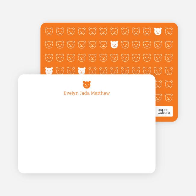 Stationery: '1 Little Bear' cards. - Orange