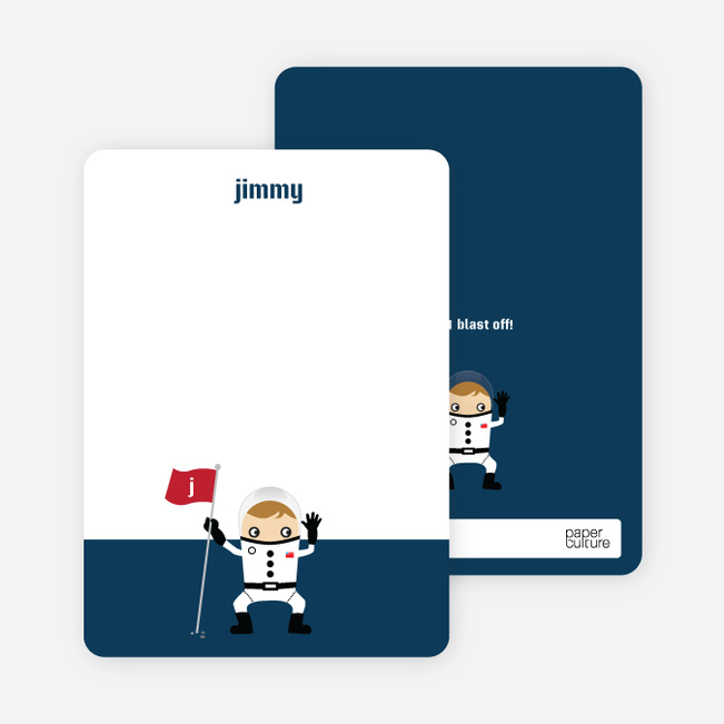 Stationery: 'Astronaut Landing' cards. - Blueberry