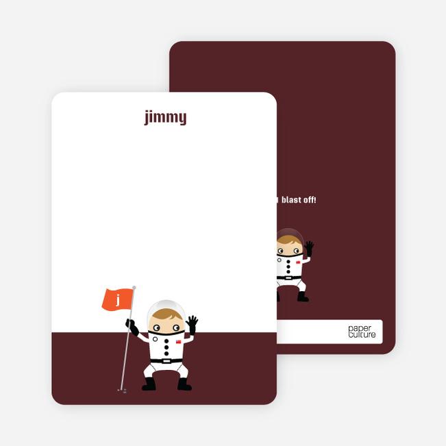 Stationery: 'Astronaut Landing' cards. - Espresso