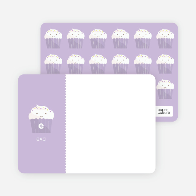 Stationery: 'Cupcake Birthday Invitation' cards. - Lavender