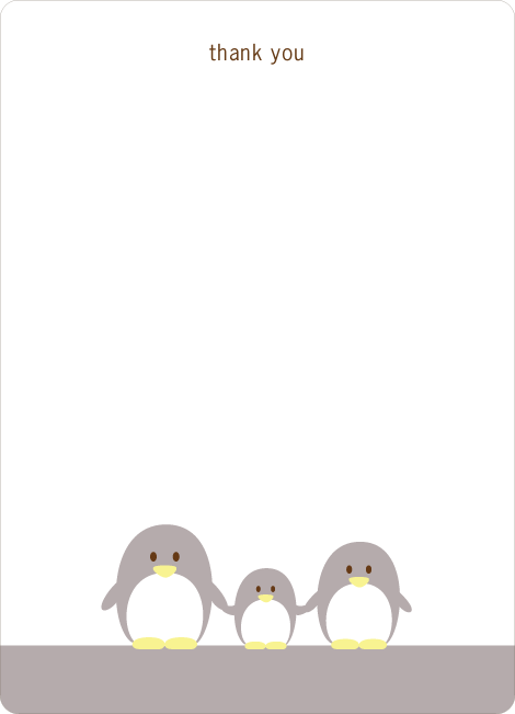 Stationery: 'Penguin Family' cards. - Silver Grey