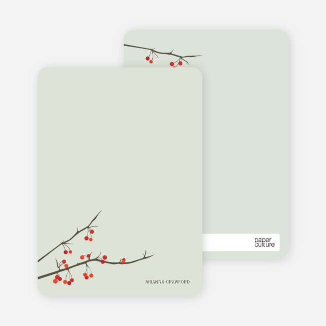 Stationery: 'Winter Berries' cards. - Pale Sage