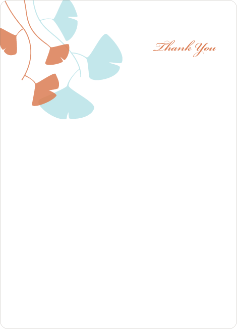 Thank You Card for Bridal Shower Invitations: Leaves - Aqua