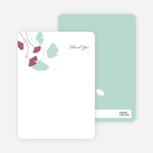 Thank You Card for Bridal Shower Invitations: Leaves - Mint Green