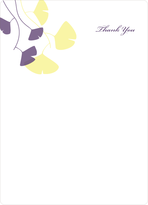 Thank You Card for Bridal Shower Invitations: Leaves - Lemon Chiffon