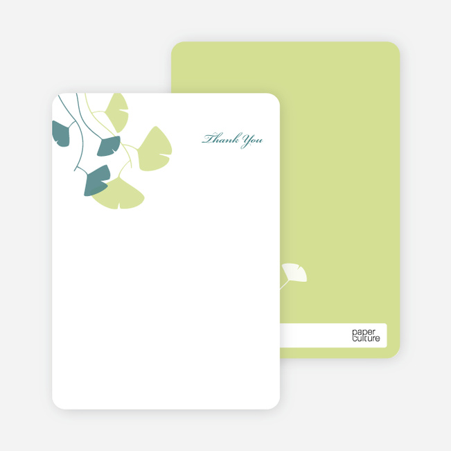 Thank You Card for Bridal Shower Invitations: Leaves - Pistachio