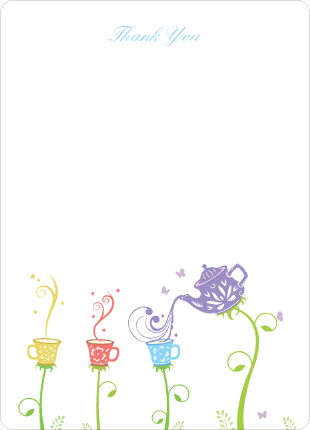 Thank You Card for Garden Tea Party Baby Shower Invitation - Violet