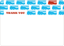 Vrrooom Fire truck: Thank You Cards - Royal Blue