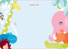 Zoo Parade Thank You Cards - Cotton Candy