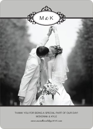 Wedding Photo Thank You Cards – Classic - Silver