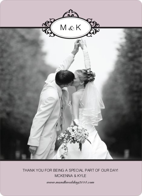 Wedding Photo Thank You Cards – Classic - Mauve