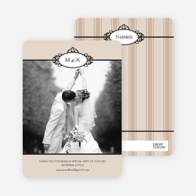 Wedding Photo Thank You Cards – Classic - Latte