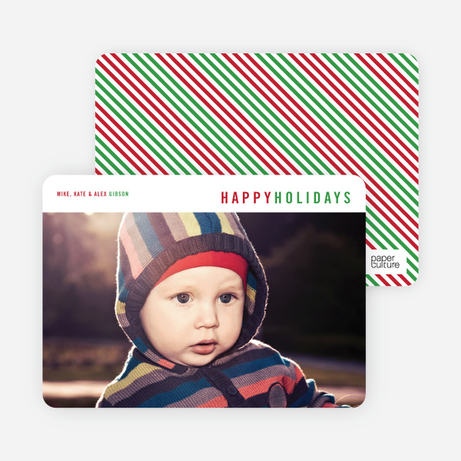 Diagonal Stripes Holiday Cards - Red