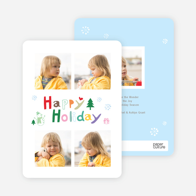 Kids Holiday Cards: Scribbles - Blue