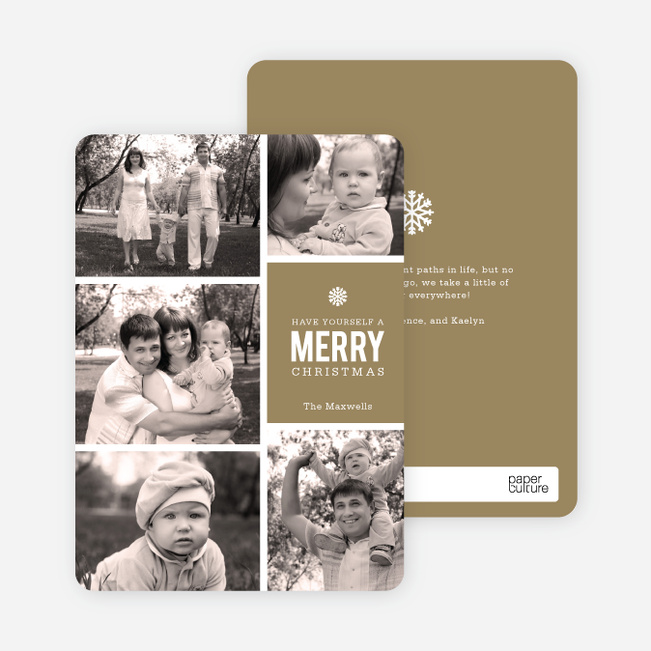 Merry Photos Holiday Cards - Brown