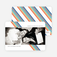 Rainbow Stripes New Year's Cards - Green