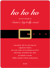Santa Belly Holiday Party Invitations - Red