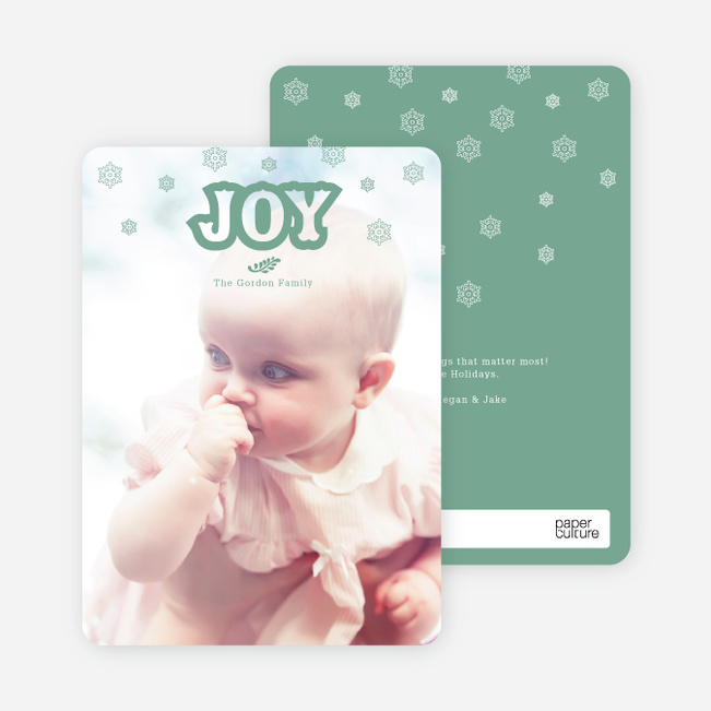 Snowflake Joy Holiday Cards - Green