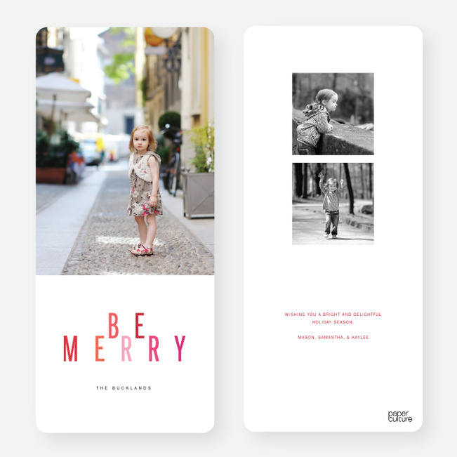 Universal Holiday Cards: Be Merry - Red