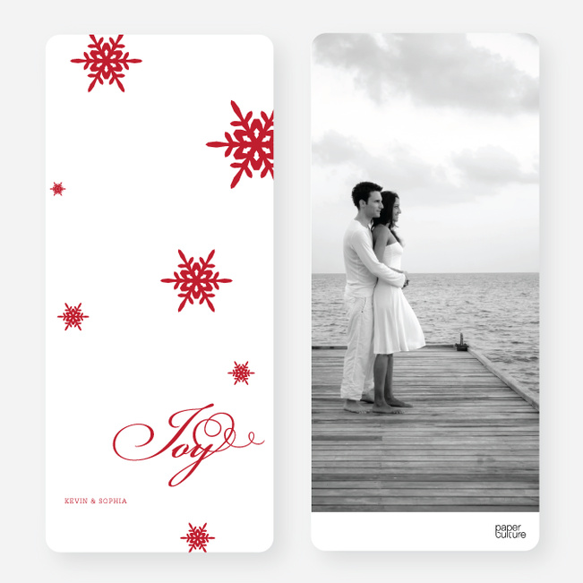 Holiday Cards: Falling Snowflakes - Red