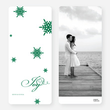 Falling Snowflakes Holiday Cards - Green