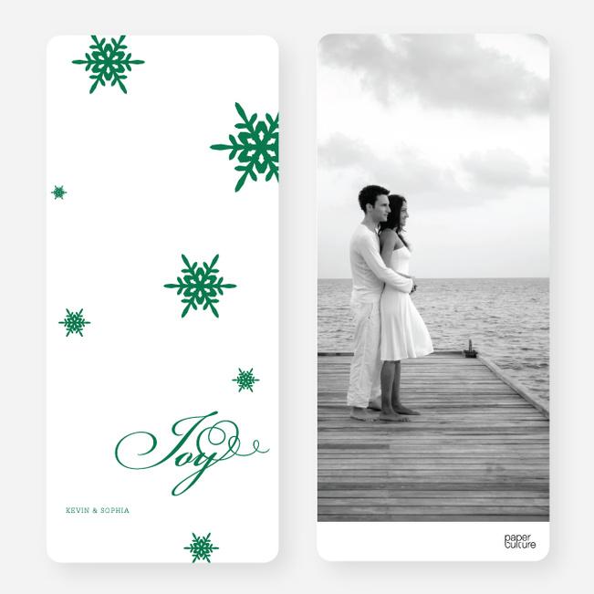 Falling Snowflakes Holiday Cards - Green