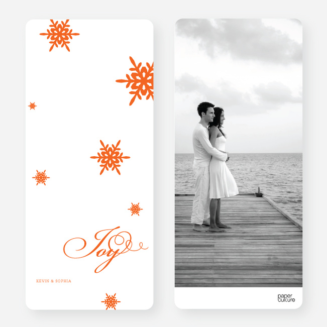 Holiday Cards: Falling Snowflakes - Orange