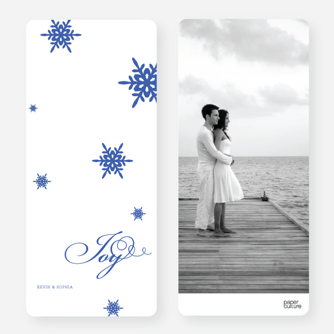 Holiday Cards: Falling Snowflakes - Blue