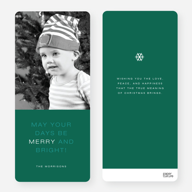 May Your Days be Merry and Bright Christmas Cards - Green