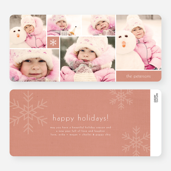 Unique Snowflakes Six Photo Holiday Cards - Red