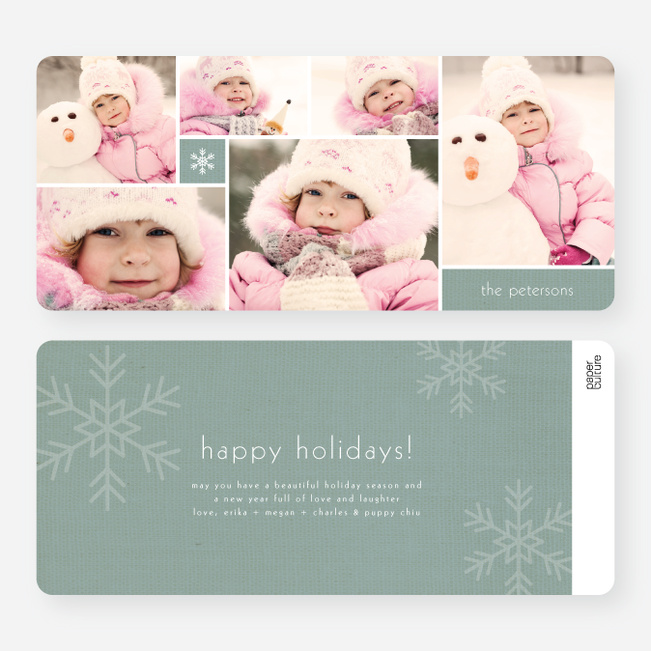 Unique Snowflakes Six Photo Holiday Cards - Blue