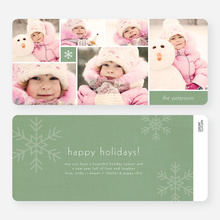 Unique Snowflakes Six Photo Holiday Cards - Green