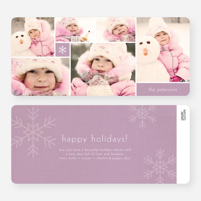 Unique Snowflakes Six Photo Holiday Cards - Purple