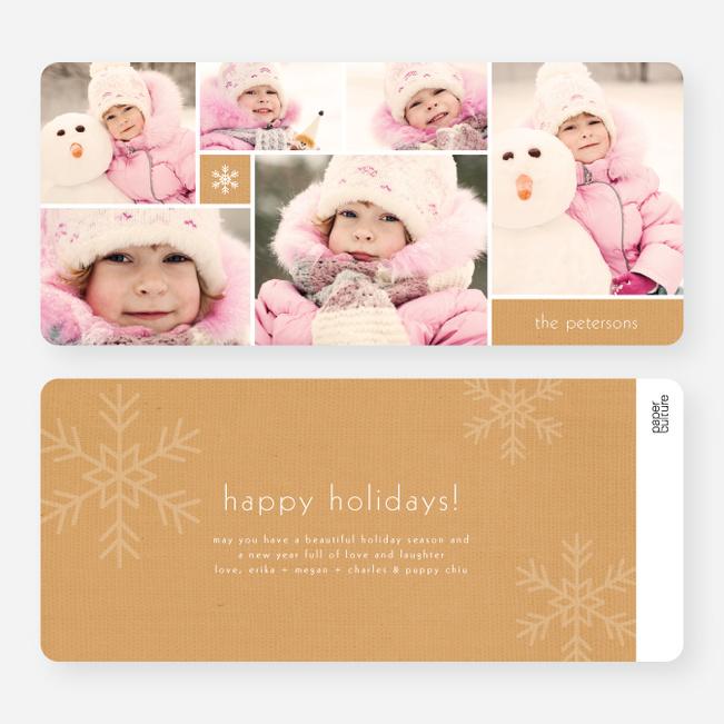 Unique Snowflakes Six Photo Holiday Cards - Orange
