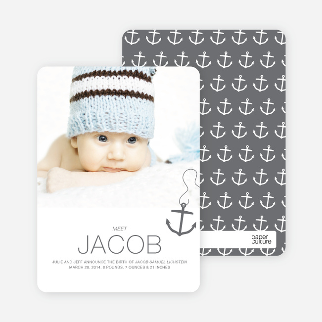 Anchors Away Birth Announcements - Gray