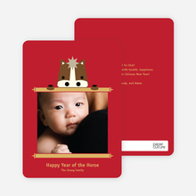 Cute Year of the Horse Chinese New Year Cards - Red