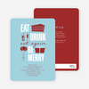 Eat. Drink. Eat Again. Be Merry Party Invitations - Blue