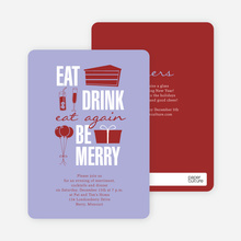 Eat. Drink. Eat Again. Be Merry Party Invitations - Purple