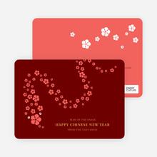 Flower Snake Lunar New Year Cards - Red