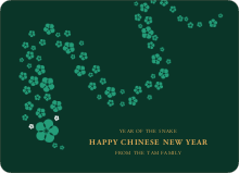 Flower Snake Lunar New Year Cards - Green