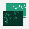 Flower Snake Lunar New Year Cards - Green