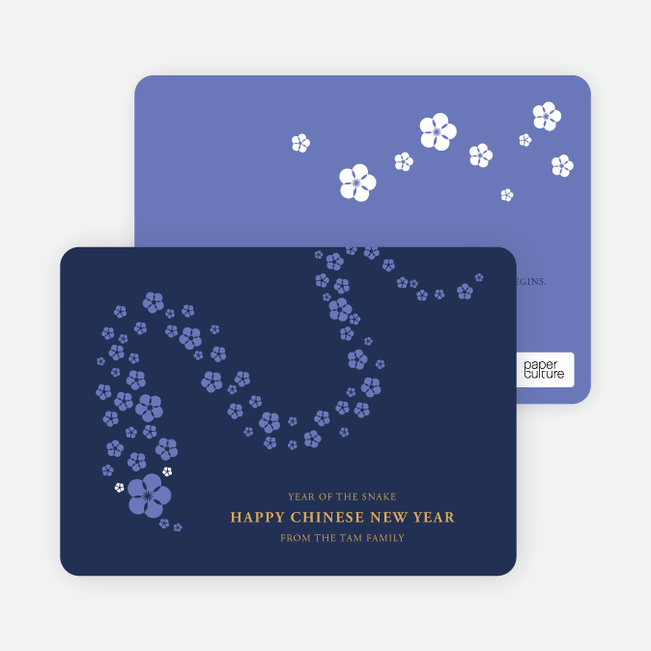 Flower Snake Lunar New Year Cards - Blue