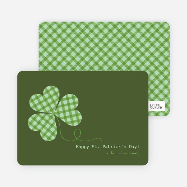 Green Plaid Saint Patrick's Day Cards - Green
