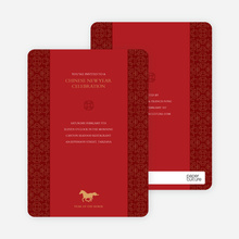Horse: Traditional Chinese New Year's and Red Egg and Ginger Invitation - Red